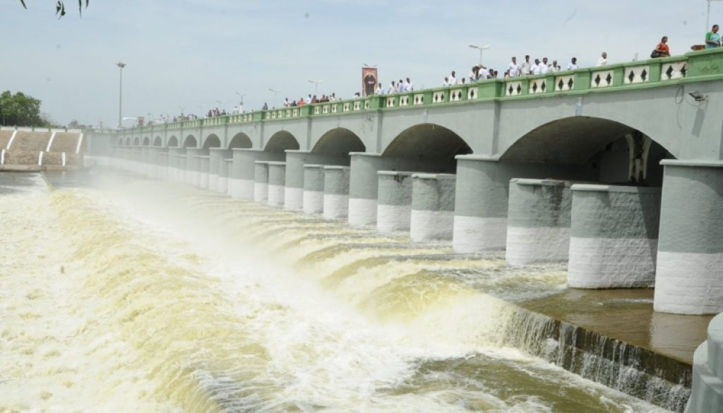 Water flooding through the kallanai dam