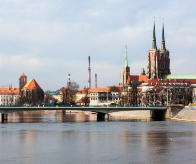 Oder River flowing in Wroclaw Poland